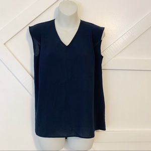 Uniqlo Sleeveless V-Neck Sheer Blouse Blue Sz S